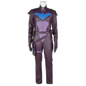 Young Justice Cosplay Nightwing Uniform Costume Jumpsuit Leather Version