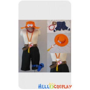 One Piece Cosplay Portgas D Ace Costume Orange Hat Full Set
