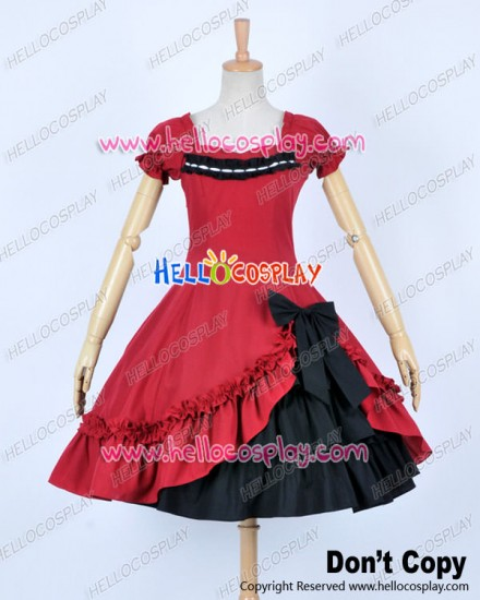 Classical Lace Victorian Lolita Red Black Dress Cosplay Costume