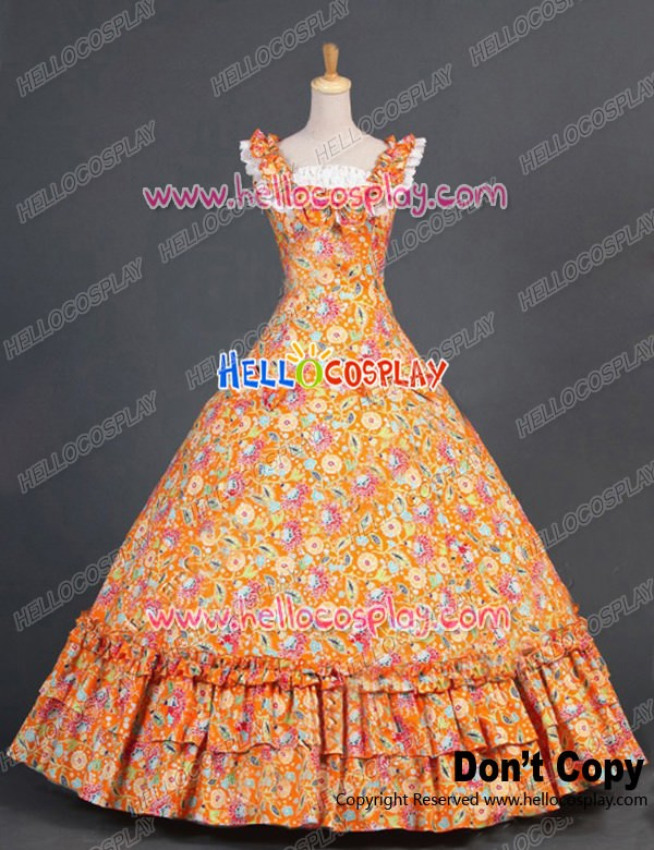 Victorian Southern Belle Ball Gown Reenactment Orange Floral Lolita ...