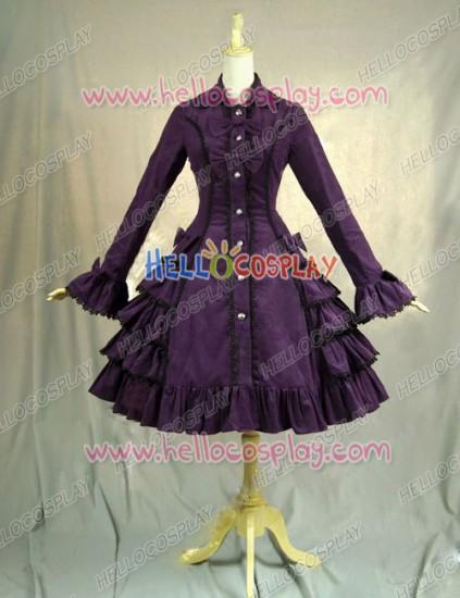 Victorian Lolita Reenactment Stage Steampunk Coat Gothic Lolita Dress Purple