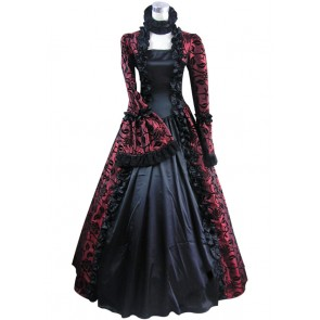 Victorian Lolita Georgian Reenactment Gothic Dress Red