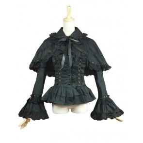 Victorian Lolita Reenactment Lace Ruffle Blouse Gothic Lolita Dress Black