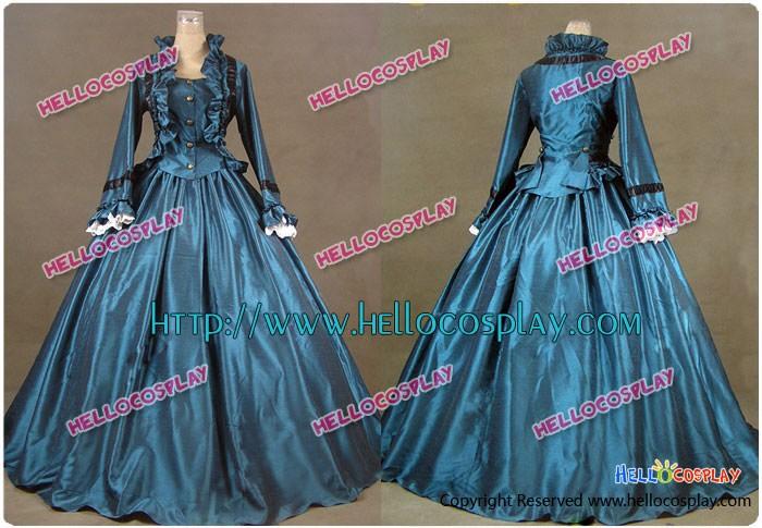 Civil War Victorian Ball Gown Prom Satin Evening Dress