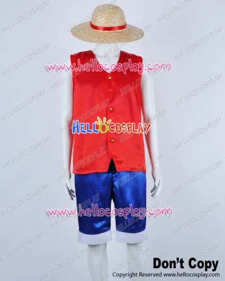 One Piece Cosplay Monkey D Luffy Red Satin Ver Costume