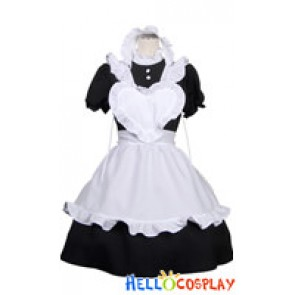 Heart Shaped White Apron Cosplay Maid Dress Costume