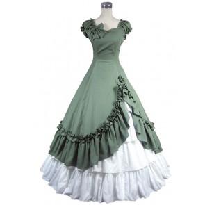 Southern Belle Cotton Evening Gown Green Lolita Dress