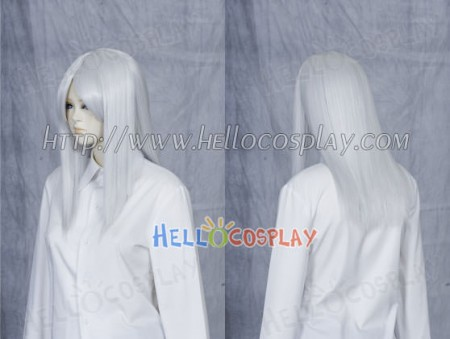 White Grey 50cm Cosplay Straight Wig