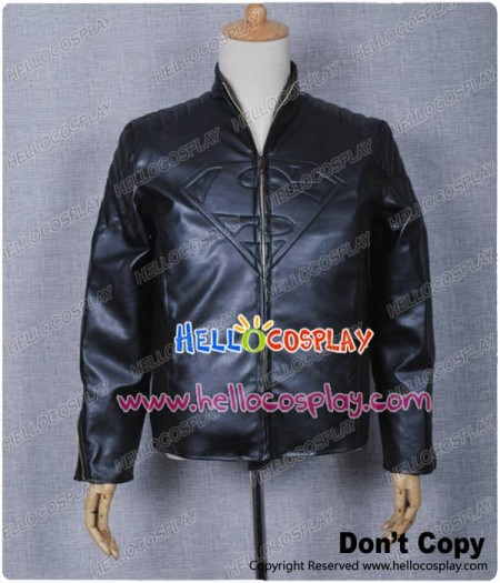 Smallville Clark Kent Cosplay Black Leather Coat Jacket Costume