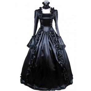 Victorian Gothic Satin Jacquard Black Dress Ball Gown