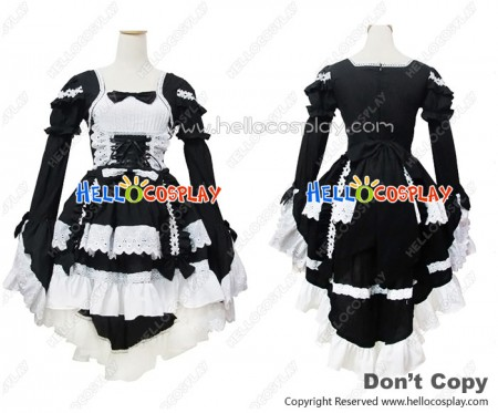 Angel Feather Cosplay Lolita Bonzer Swallowtail Black Maid Dress