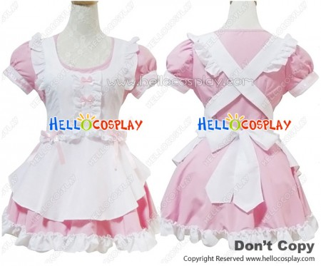 Angel Feather Cosplay Fantasy Sweet Pink Maid Dress