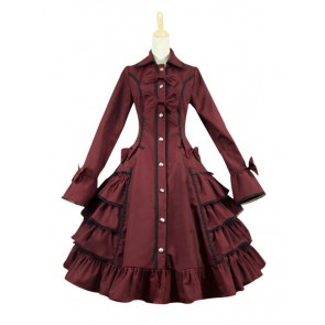Gothic Lolita Cosplay Victorian Coat Reenactment Steampunk Stage Wine Red Dress Costume