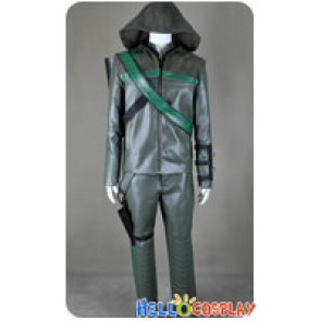 Green Arrow Cosplay Oliver Queen Dark Green Leather Costume