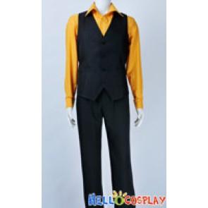 One Piece Cosplay Sanji Costume Stripe Orange Shirt