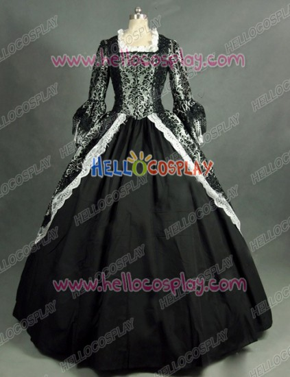 Victorian Lolita Marie Antoinette Theatre Gothic Lolita Dress Grey Floral