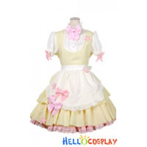 Sweet Fluffy Lace Bow Knots Stars Cosplay Maid Dress Costume