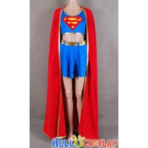 Superman Supergirl Jumpsuit Cosplay Costume Cape Red