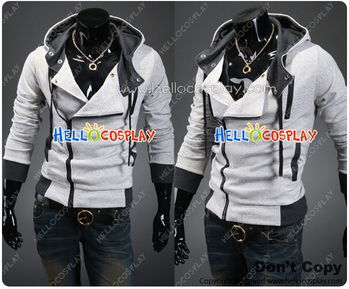 Assassin S Creed Cosplay Jacket With Hood Costume Light Gray