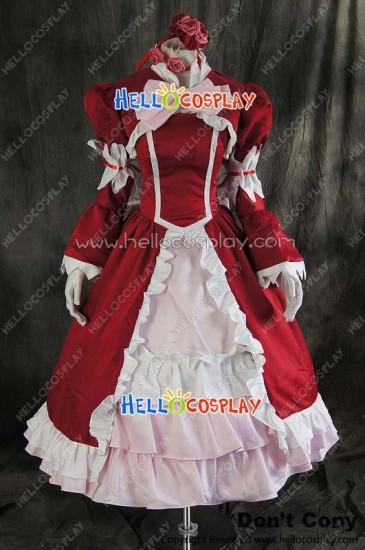 Black Butler Cosplay Elizabeth Ethel Cordelia Midford Red Dress Costume