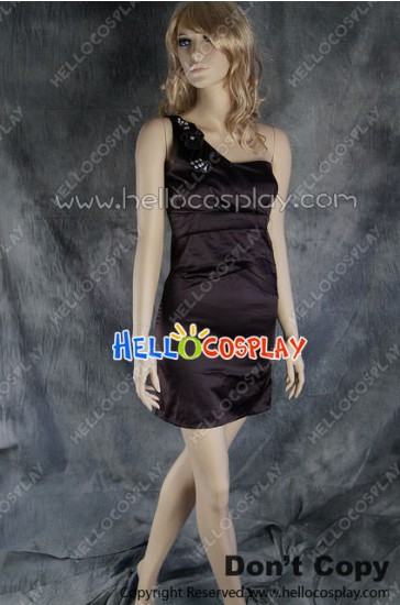 Party Cosplay Brown Princess Ball Gown Formal Shoulder Dress Costume