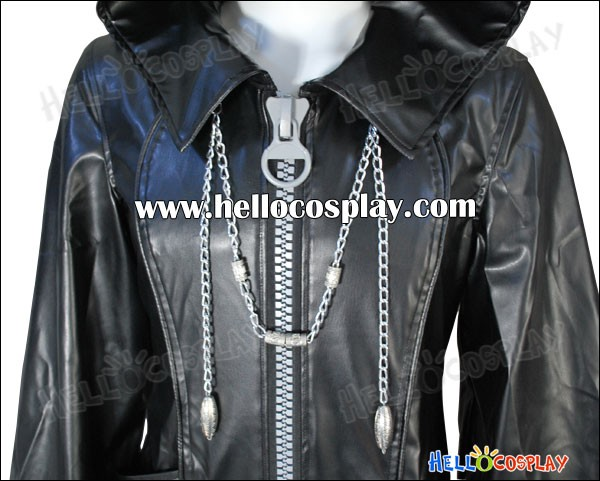 Kingdom Hearts Organization XIII 13 Cosplay Black Leather Coat Big Zipper  Premade Standard Size 7019c35d9475