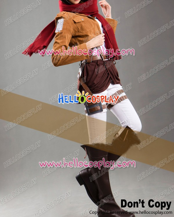Attack On Titan Shingeki No Kyojin Cosplay Mikasa Ackerman Suede Costume Full Set