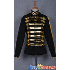 Michael Jackson Military Prince Black Costume Gold Stripe Jacket