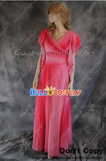 Party Cosplay Pink Red Chiffon Ball Gown Formal Dress Costume