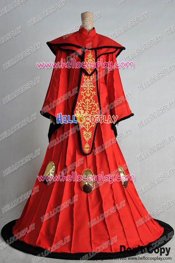 Star Wars Phantom Menace Padme Amidala Cosplay Costume Red Queen Dress Gown