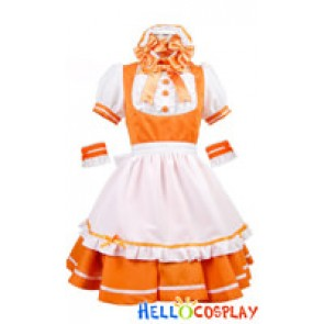 Four Colors Lolita Satin Bow Knot Cosplay Maid Dress Costume
