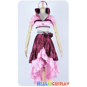 Karneval Cosplay Eva Pink Satin Dress Costume