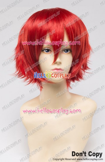 Wig 30CM Cosplay Pure Bright Red Universal Short Layered