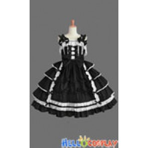 Sweet Lolita Gothic Punk Gorgeous Ruffle Black Dress