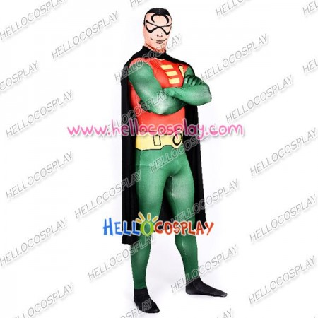 Young Justice Robin Cosplay Costume Jumpsuit Cape