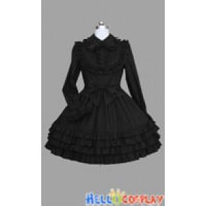 Gothic Lolita Punk Classic Black Cotton Victorian Dress