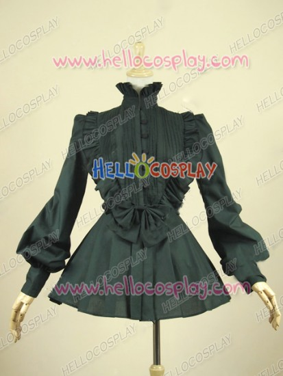 Victorian Lolita Reenactment Romantic Ruffle Blouse Gothic Lolita Dress Black