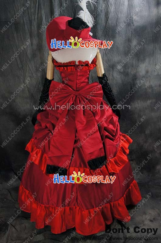 Black Butler Cosplay Madam Red Dress Costume With Hat 09d166346c5