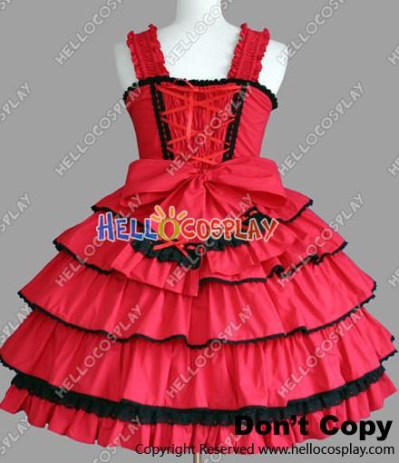 f747b69244ce Sweet Lolita Gothic Punk Classical Red Dress