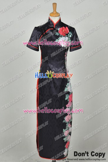 Vocaloid Cosplay Perfume HurlyBurly Haku Black Cheongsam Dress Costume