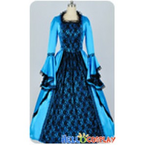 Marie Antoinette Victorian Cyan Bright Blue Satin Wedding Ball Lolita Dress