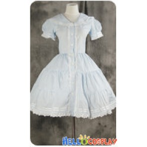 Gothic Lolita Cosplay Blue Sailor Dress Costume