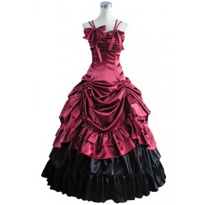 Southern Belle Satin Lolita Ball Gown Prom Red Dress