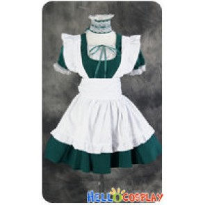 Maid Cosplay White Apron Green Dress Costume
