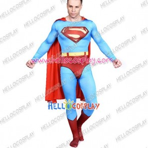 Superman Clark Kent Cosplay Costume Jumpsuit Cape