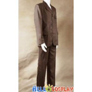 Doctor Cosplay Costume Brown Strip Suit