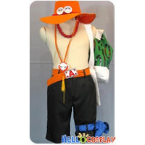 One Piece Cosplay Portgas D Ace Costume Orange Hat Belt Green Bag