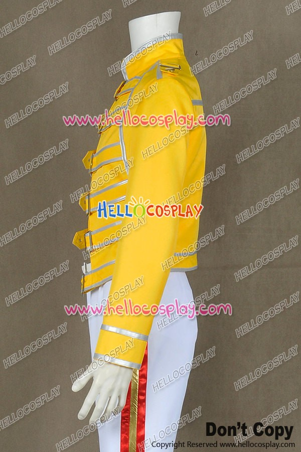 f3e5060f95938 Queen Band Lead Vocals Freddie Mercury Jacket Cosplay Costume Yellow