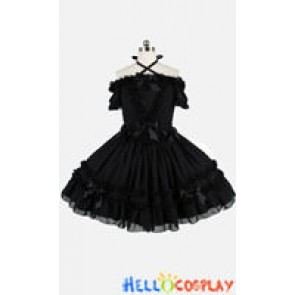 Gothic Lolita Punk Strapless Fluffy Black Dress