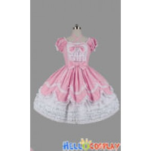 Sweet Lolita Gothic Punk Ruffle Pink Dress